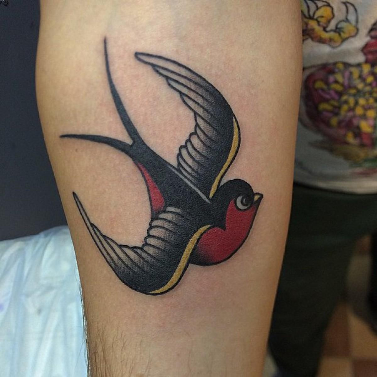 Фото татуировок на предплечье ласточки